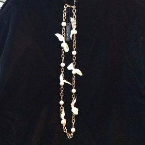 Ann Taylor faux Gold Chain w/ faux pearls /ribbons